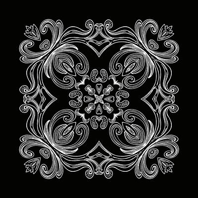 Digital Art - Coffee Flowers 6 Bw Ornate Medallion by Angelina Tamez