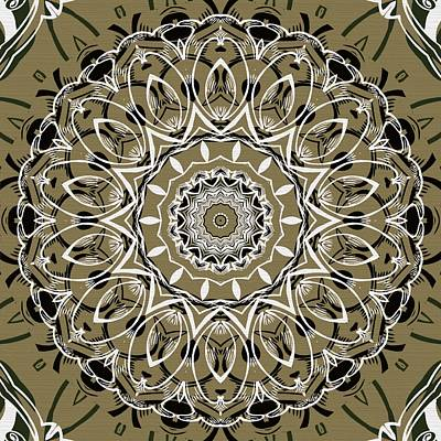 Coffee Flowers 7 Olive Ornate Medallion Art Print by Angelina Vick