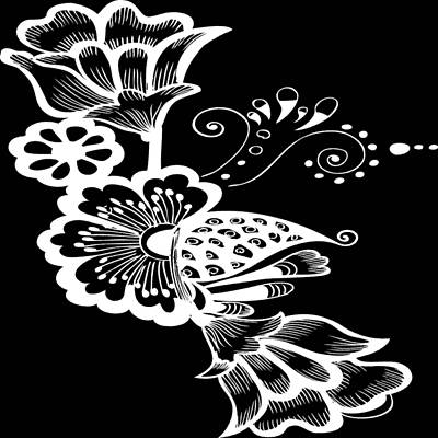 Digital Art - Coffee Flowers 9 Bw by Angelina Tamez