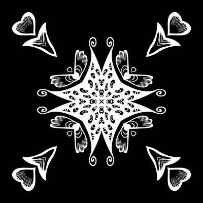 Digital Art - Coffee Flowers 9 Bw Ornate Medallion by Angelina Tamez