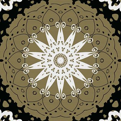 Coffee Flowers 9 Olive Ornate Medallion Print by Angelina Vick