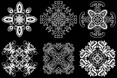 Coffee Flowers Ornate Medallions Bw 6 Peice Collage Art Print by Angelina Vick