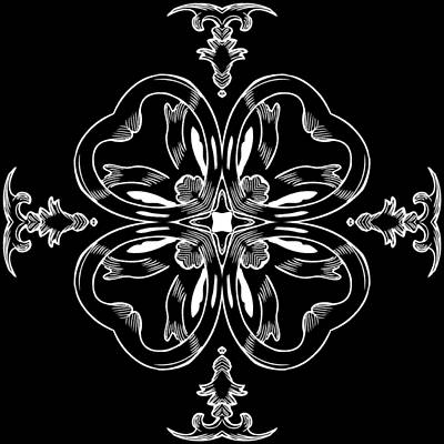 Digital Art - Coffee Flowerss 11 Bw Ornate Medallion by Angelina Tamez