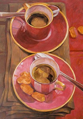 Tableware Painting - Coffee For Two by Anke Classen