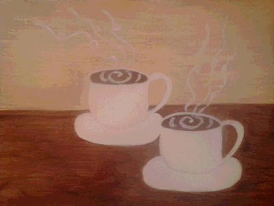 Two Espressos Painting - Coffee For Two by Erica  Darknell