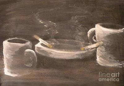 Ashtray Painting - Coffee For Two by Michael Stanley