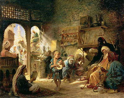 Entertain Painting - Coffee House In Cairo, 1870s by Konstantin Egorovich Makovsky
