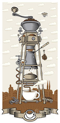 Food Digital Art - Coffee House In The City by Paseven