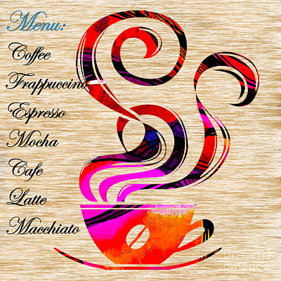 Mixed Media - Coffee House Menu by Marvin Blaine