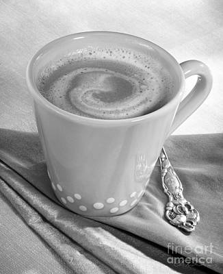 Coffee In Tall Yellow Cup Black And White Art Print by Iris Richardson