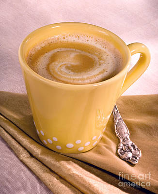 Coffee In Tall Yellow Cup Art Print by Iris Richardson