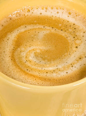 Coffee In Yellow Macro Art Print by Iris Richardson