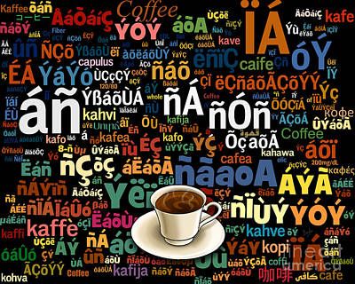 Coffee Language Art Print by Bedros Awak