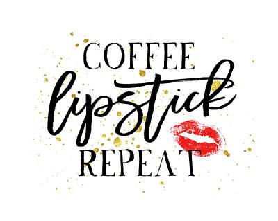 Coffee Lipstick Repeat Art Print by Amy Cummings
