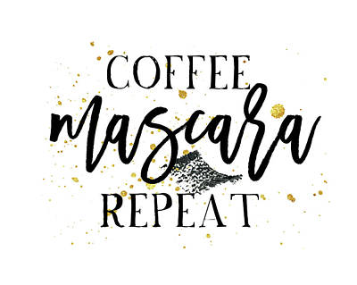Coffee Mascara Repeat Art Print by Amy Cummings