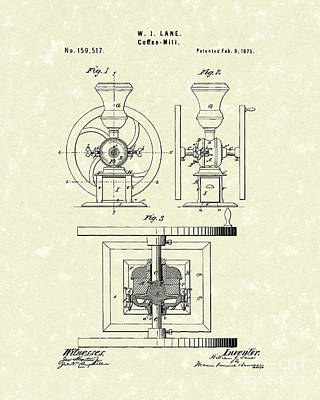 Coffee Grinder Drawing - Coffee Mill 1875 Patent Art by Prior Art Design