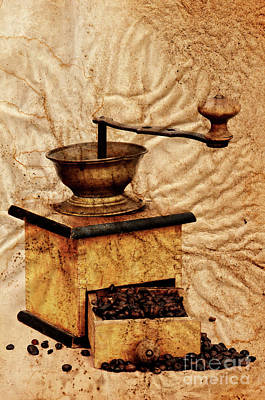 Coffee Mill And Beans In Grunge Style Art Print