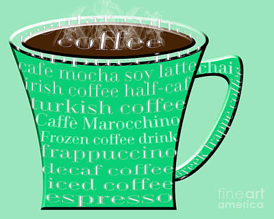 Digital Art - Coffee Mug Green Typography  by Andee Design