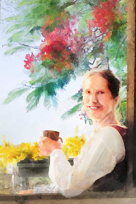 Digital Art - Coffee On The Porch by Francesa Miller