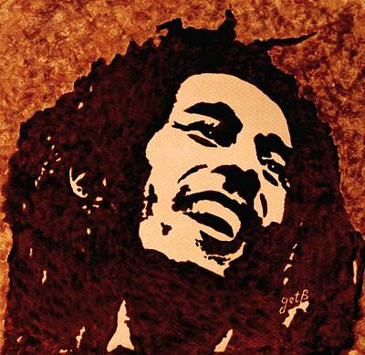 On Paper Painting - Coffee Painting Bob Marley by Georgeta  Blanaru