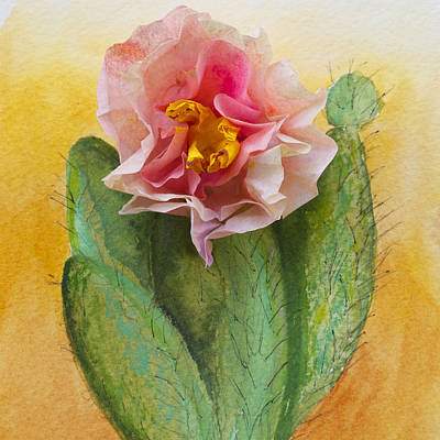 Mixed Media - Coffee Paper Cactus Flower by Patricia Beebe