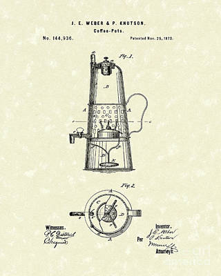 Drawing - Coffee Pot 1873 Patent Art by Prior Art Design