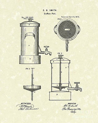Drawing - Coffee Pot 1875 Patent Art by Prior Art Design