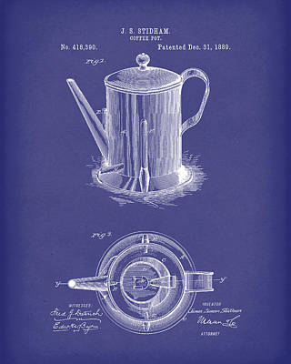 Potted Drawing - Coffee Pot 1889 Patent Art Blue by Prior Art Design