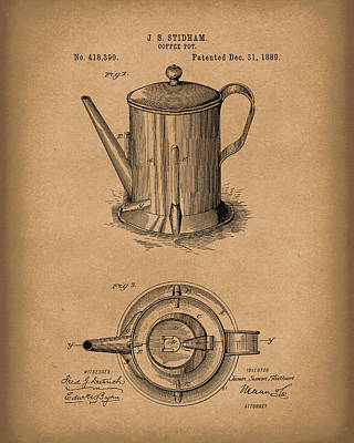 Drawing - Coffee Pot 1889 Patent Art Brown by Prior Art Design