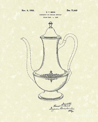 Potted Drawing - Coffee Pot 1926 Patent Art by Prior Art Design