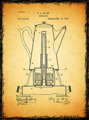 Grinders Photograph - Coffee Pot Patent 1885 by Mark Rogan