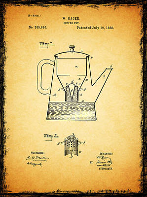 Coffee Grinder Photograph - Coffee Pot Patent 1888 by Mark Rogan