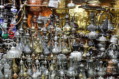 Grand Bazaar Photograph - Coffee Pots At The Grand Bazaar In Istanbul Turkey by Robert Preston