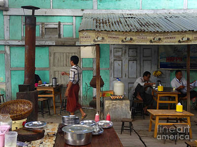Photograph - Coffee Shop On 74th Street Chanayethazan Mandalay Burma by Ralph A  Ledergerber-Photography