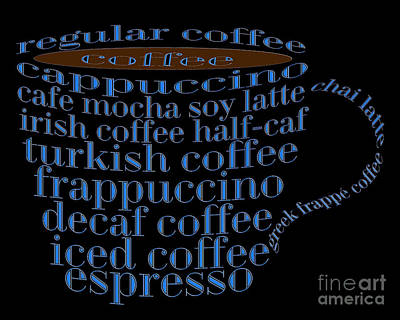 Digital Art - Coffee Shoppe Coffee Names Black 2 Typography by Andee Design