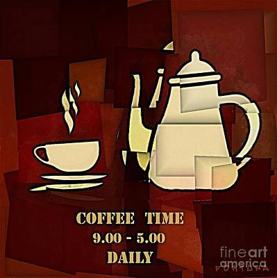 Mosaic Digital Art - Coffee Time by Dragica  Micki Fortuna