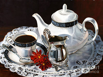 Silver Pitcher Painting - Coffee Time by Monika Pate
