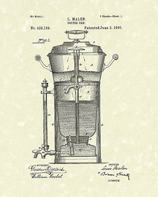Drawing - Coffee Urn 1890 Patent Art by Prior Art Design
