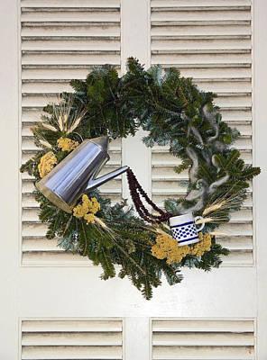 Coffee Wreath Art Print by Sally Weigand
