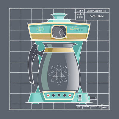 Coffeemaid -aqua Art Print