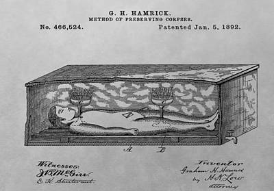 Drawing - Coffin Patent Drawing by Dan Sproul