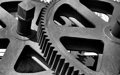 Photograph - Cogwheels In Black And White by Nadalyn Larsen