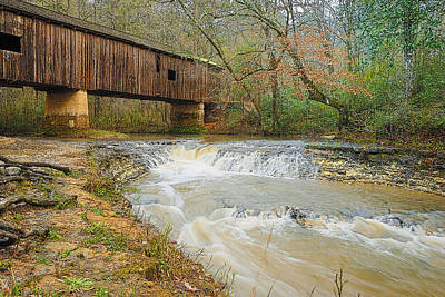 Photograph - Coheelee Creek Covered Bridge Georgia by Charles Beeler