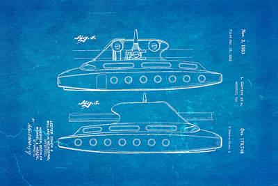 Monorail Photograph - Cohen Monorail Toy 3 Patent Art 1953 Blueprint by Ian Monk