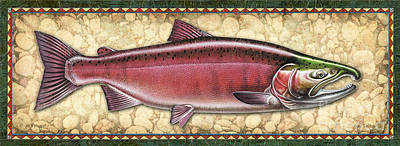 Salmon Painting - Coho Salmon Spawning Panel by JQ Licensing