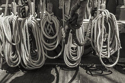 Anchor Photograph - Coiled Black And White Sepia by Scott Campbell