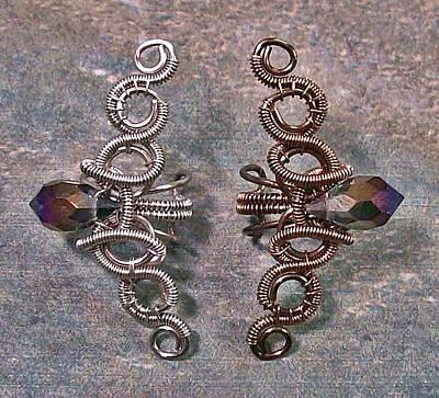 Ear Cuff Jewelry - Coiled Coil Crystal Spike Ear Cuff by Heather Jordan