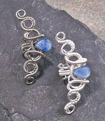 Ear Cuff Jewelry - Coiled Coil Kyanite Teardrop Ear Cuff by Heather Jordan