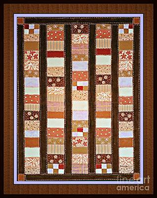 Block Quilts Painting - Coin Quilt -  Painting - Brown And White Patches by Barbara Griffin