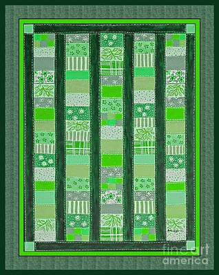 Coin Quilt - Painting - Green Patches Art Print